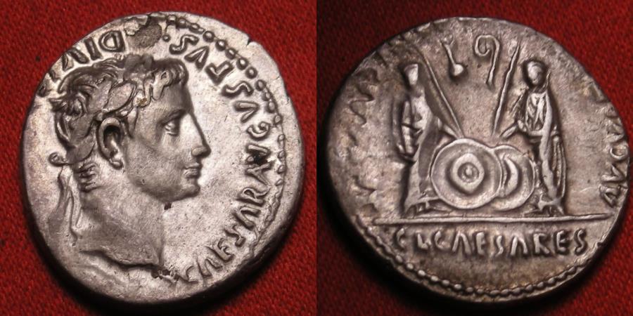Ancient Coins - AUGUSTUS AR silver denarius. Caius & Lucius Caesars standing, shields & spears between, lituus and simpulum 'b9'. Lovely portrait