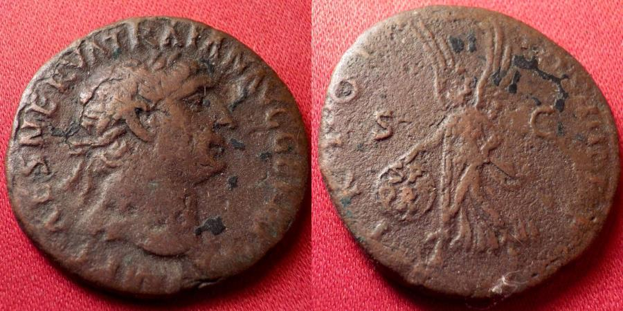 Ancient Coins - TRAJAN AE as. Early issue, 98-99 AD. Victoria advancing left, holding shield.