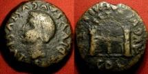 Ancient Coins - DIVUS AUGUSTUS AE 'dupondius'. Augusta Emerita, Lusitania. City gate with twin portals. Scarce