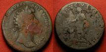 Ancient Coins - MARCUS AURELIUS AE sestertius. Rome mint, 163 AD. SALVTI AVGVSTOR, Salus standing, feeding serpent.