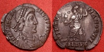 Ancient Coins - THEODOSIUS I THE GREAT AR silver siliqua. VIRTVS ROMANORVM, Roma seated on cuirass.