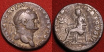 Ancient Coins - VESPASIAN AR silver denarius. Rome, 75 AD. Pax seated left. Nice golden toning.