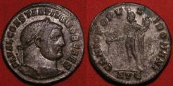 Ancient Coins - CONSTANTIUS I CHLORUS AE silvered large follis. Genio Populi Romani, Heraclea mint.