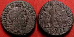 Ancient Coins - PHILIP I THE ARAB AE sestertius. Moesia, Viminacium. Moesia standing between bull and lion.