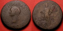 Ancient Coins - VESPASIAN AE sestertius. MARS VICTOR, Mars facing, holding spear & trophy. Left facing portrait! Rare