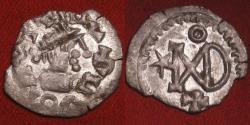 Ancient Coins - GEPIDS, Ostrogothic migration period, AR silver quarter-siliqua. In the name of Justin I, Theoderic monogram. Sirmium.