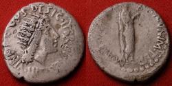 Ancient Coins - MARCUS ANTONIUS (Marc Antony) AR silver denarius. Radiate bust of Sol, Antonius dressed as a priest