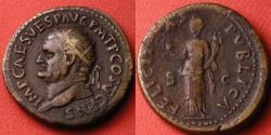 Ancient Coins - VESPASIAN AE dupondius. Rome, 73 AD. FELICITAS PUBLICA, Felicitas standing, holding caduceus & cornucopia. Left facing bust.