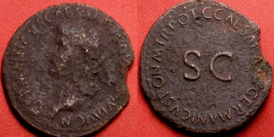 Ancient Coins - GERMANICUS AE as. Struck by Caligula. Legend around SC.