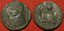 Ancient Coins - CONSTANTINE I THE GREAT silvered AE3. Trier mint. BEATA TRANQVILLITAS, altar with globe atop. Consular bust, facing left. Rare.