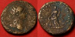 Ancient Coins - TRAJAN AE orichalcum dupondius. Pax setting fire to pile of arms. Scarce.