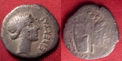 Ancient Coins - MARCUS JUNIUS BRUTUS, as Q CAEPIO BRUTUS, AR silver denarius. Lycia, 42 BC. Libertas, with lyre, quiver & laurel branch.