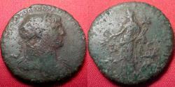 Ancient Coins - TRAJAN AE as. SPQR OPTIMO PRINCIPI, Fortuna standing, holding rudder on prow & cornucopia