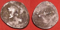 Ancient Coins - C LICINIUS MACER AR silver denarius. Bust of Apollo, Minerva in quadriga. Overstruck on an earlier Republic serratus adjusted with 'al marco'.