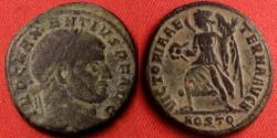 Ancient Coins - MAXENTIUS AE follis. VICTORIA running, holding wreath & palm. Ostia. Scarce.