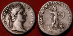 Ancient Coins - DOMITIAN AR silver denarius. Minerva standing on prow, brandishing spear & shield. Struck 89AD.