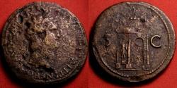 Ancient Coins - NERO AE sestertius. Lugdunum mint, 64 AD. Triumphal arch decorated with quadriga and statues.