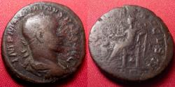 Ancient Coins - MAXIMINUS I THRAX AE as. Early issue, 235 AD. Salus seated left. Heavy 11.4 grams