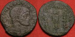 Ancient Coins - CONSTANTINE I THE GREAT AE3 follis. Ostia mint, SPQR OPTIMO PRINCIPI, legionary eagle & standards. Scarce
