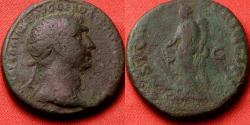 Ancient Coins - TRAJAN AE as. Fortuna standing, holding rudder & cornucopia