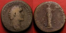 Ancient Coins - ANTONINUS PIUS AE sestertius. Early issue, 138-139 AD. Bare headed portrait. Annona or Fides standing, holding tray of fruit. Very scarce.