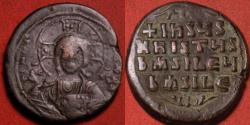 Ancient Coins - BYZANTINE EMPIRE. Class A2 anonymous follis, struck during the reign of Constantine VIII. Christ holding gospels, legend in four lines