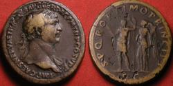 Ancient Coins - TRAJAN AE orichalcum sestertius. Trajan holding thunderbolt & spear, being crowned by Victory.
