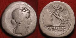 Ancient Coins - C VIBIUS VARUS AR silver denarius. 42 BC. Head of Bacchus (Liber) right, Panther springing towards garlanded altar. Scarce.