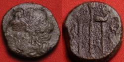 Ancient Coins - HIERON II AE 19mm. Sicily, Syracuse. Diademed bust of Poseidon, trident head flanked by dolphins.