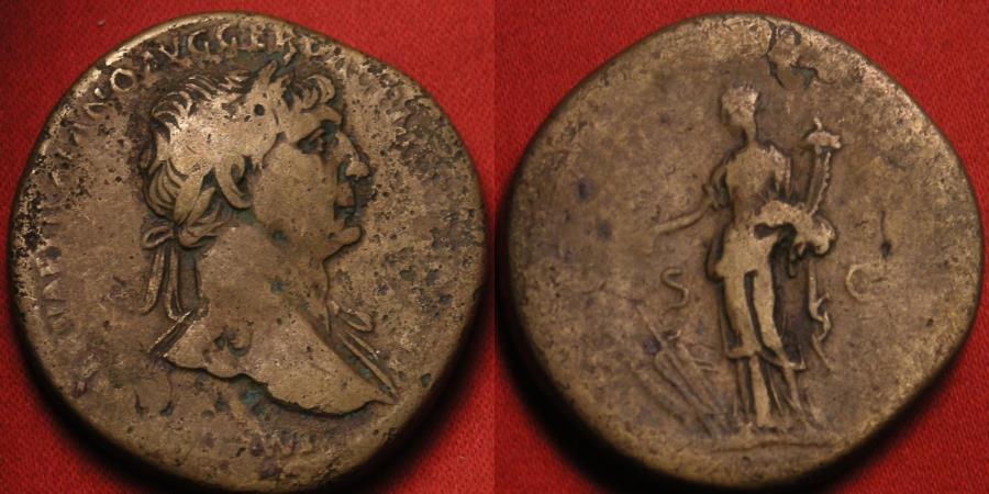 Ancient Coins - TRAJAN AE orichalcum sestertius. Fortuna standing left, holding rudder on prow, & cornucopia.