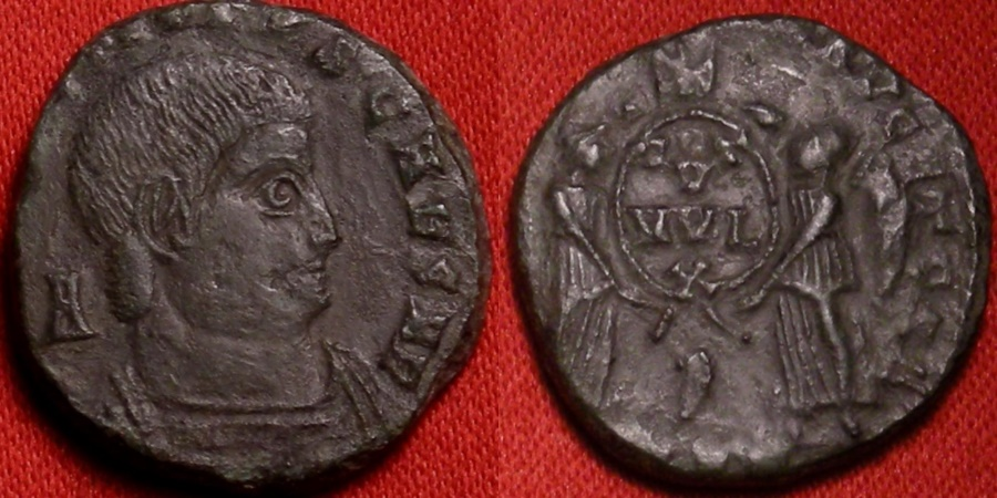 Ancient Coins - DECENTIUS AE cententionalis. Two Victories standing, Chi-Rho (Christogram) in upper field.