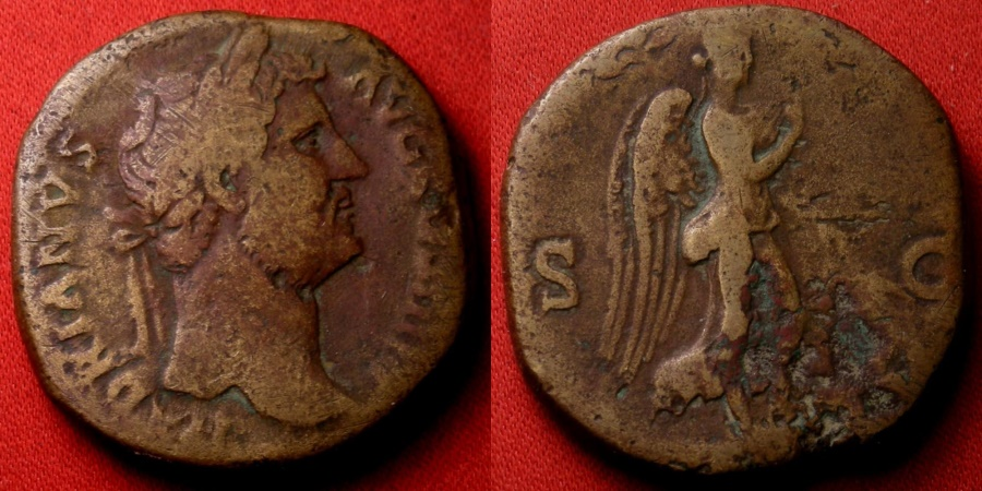 Ancient Coins - HADRIAN AE sestertius. No legend, Victoria advancing right, holding olive branch. Rare