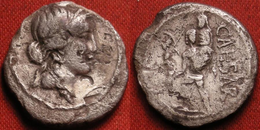 Ancient Coins - JULIUS CAESAR AR silver denarius. Aeneas carrying Palladium and his father Anchises. North Africa, 47-46 BC.