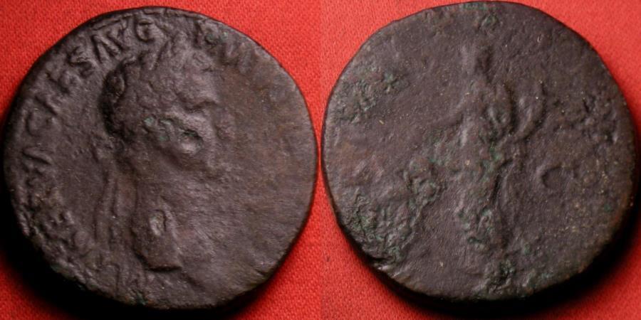 Ancient Coins - NERVA AE sestertius. 97 AD. Fortuna standing, holding rudder & cornucopia.