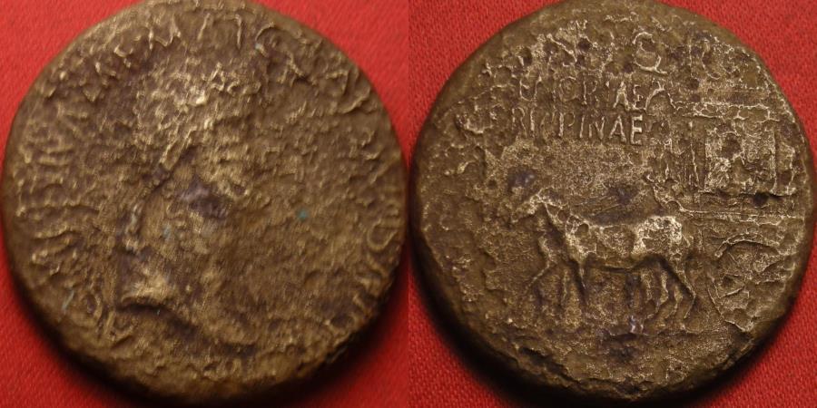 Ancient Coins - AGRIPPINA I SENIOR AE sestertius. Rome mint, 37-41 AD. MEMORIAE AGRIPPINAE, ornamented carpentum drawn by two mules. Rare.