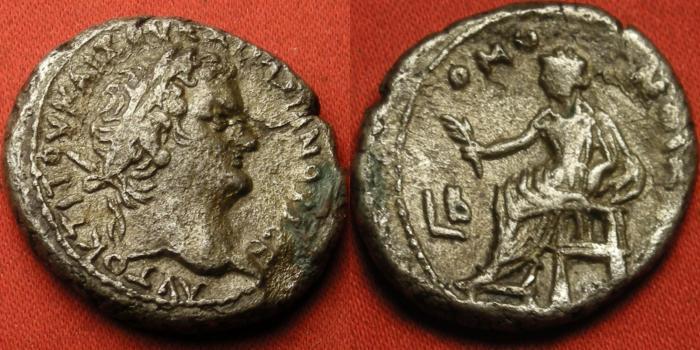 Ancient Coins - TITUS AUGUSTUS AR silver tetradrachm. Alexandria, Egypt, regnal year 2. HOMONIA (Concordia) seated left, holding branch.