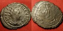 Ancient Coins - TETRICUS II CAESAR AE silvered antoninianus. Spes advancing. holding flower & hem of skirt.Double struck.