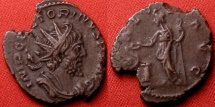 Ancient Coins - VICTORINUS AE antoninianus. SALUS standing, feeding serpent arising from altar.