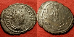 Ancient Coins - TETRICUS II CAESAR AE silvered antoninianus. Spes advancing. holding flower & hem of skirt.Double struck.