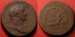 Ancient Coins - TRAJAN AE sestertius. AQUA TRAIANA, River god reclining in arched grotto. Scarce
