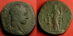 Ancient Coins - SEVERUS ALEXANDER AE sestertius. FIDES MILITUM, Fides holding two military standards