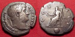 Ancient Coins - HADRIAN AR silver denarius. Victoria seated left, holding wreath & palm. 125-128 AD.