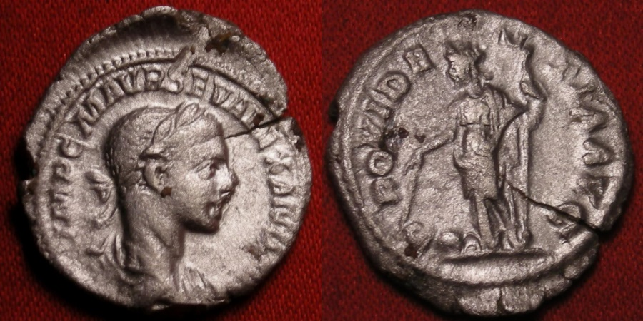 Ancient Coins - SEVERUS ALEXANDER AR silver denarius. Providentia standing, holding wand over globe.