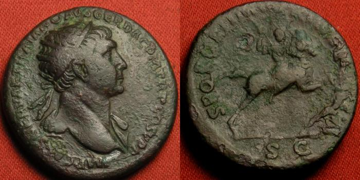 Ancient Coins - TRAJAN AE dupondius. Trajan on horseback, spearing Dacian.