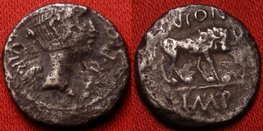 Ancient Coins - FULVIA, second wife of Marc Antony, AR silver quinarius. Transapline Gaul or Lugdunum, 42 BC. Lion standing.