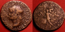 Ancient Coins - NERO AE as. Lugdunum mint. Victoria flying left, holding shield inscribed SPQR. Left facing portrait.