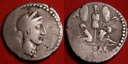 Ancient Coins - JULIUS CAESAR AR silver denarius. Struck in Spain, to commemorate Caesar's conquest of Gaul. Captives & trophy.