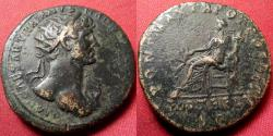 Ancient Coins - HADRIAN AE dupondius. Fortuna seated left, holding rudder & cornucopia. Early issue. Heavy 15.8 grams