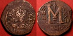 Ancient Coins - JUSTINIAN I THE GREAT AE large follis. Theoupolis (Antioch) mint, regnal year 28 (554-555 AD). Large 36mm flan.