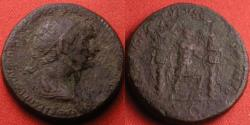 Ancient Coins - TRAJAN AE dupondius. Trajan standing between two trophies of arms. Scarce.